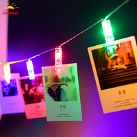 OOBEST 40 LED String Lights Novelty Fairy Lamp Starry Battery Card Photo Clip Luminaria Festival Christmas