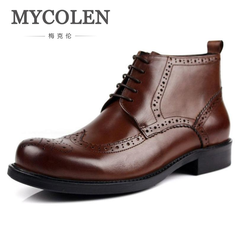 MYCOLEN New Arrival Fashion High Top Lace-up Ankle Boots Genuine Leather Casual Shoes Men Leather Carving Working Martin Boots цена