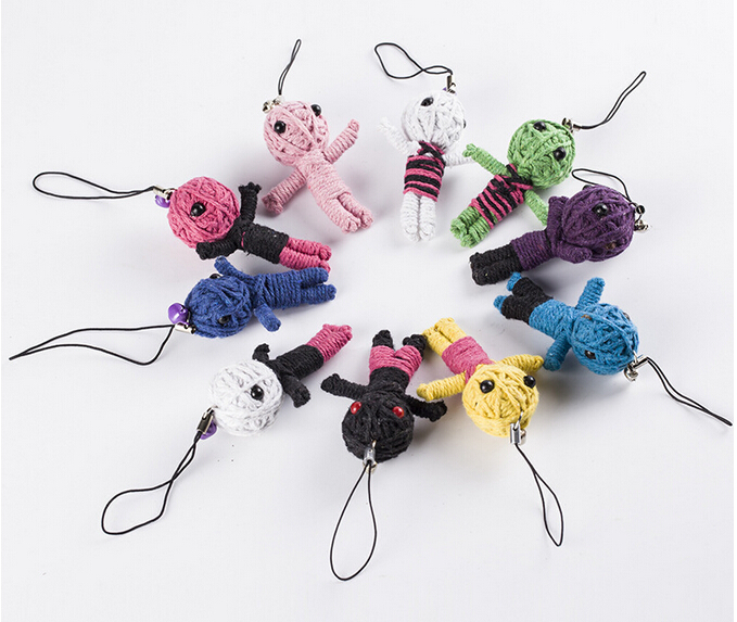 10pcs Wholesale New Style Voodoo Doll Keychains Little Voodoo Dolls Free Shipping Accessories
