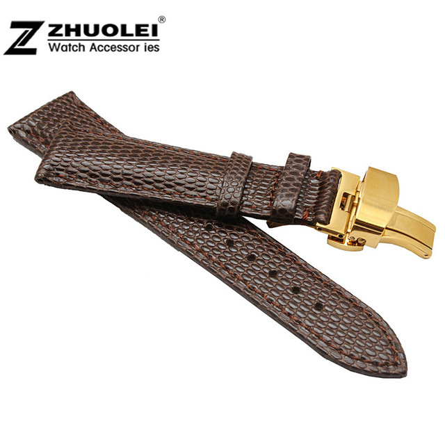 18mm 20mm 22mm 24mm New Mens Ladies Brown Genuine Leather Watch Strap Band Buckle Butterfly Stainless Steel Buckle Clasp