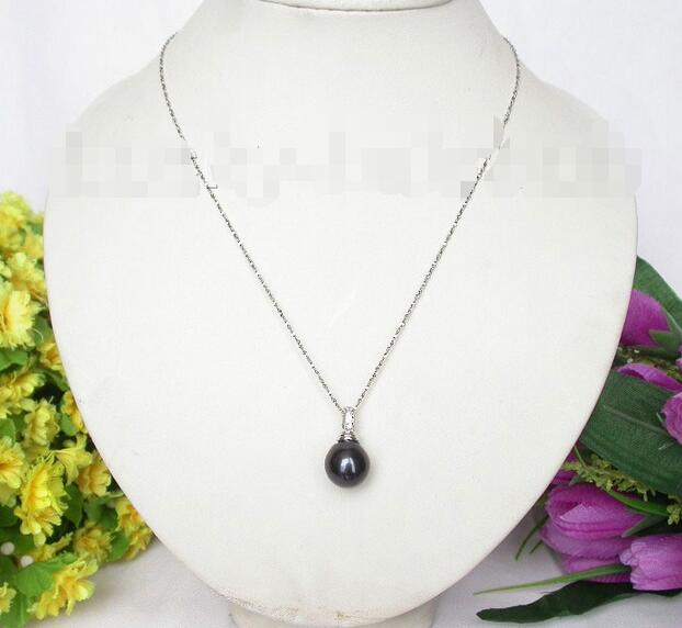 Natural 14MM Black Akoya Shell Pearl Pendant Necklace 12MM Earrings Jewelry Set
