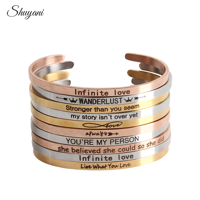 Stainless Steel Customize Positive Inspirational Bracelet Quote Cuff Engraved Bangle For Women Best Gifts