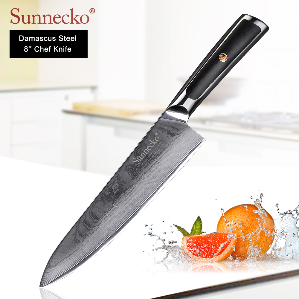 SUNNECKO Premium 8 inch Chef Knives Damascus Steel Kitchen Knife Japanese VG10 Core Blade Chef Knife