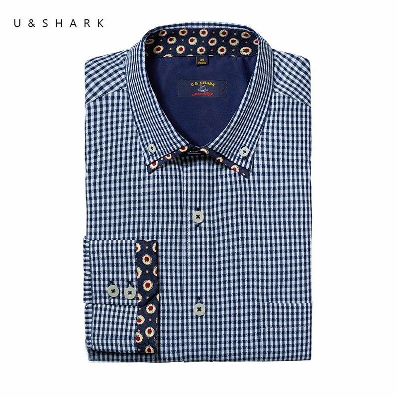 Fashion Dobby Pattern Blue Plaid Shirt Men Blouse Slim Fit Camisa U Shark Long Sleeve Check