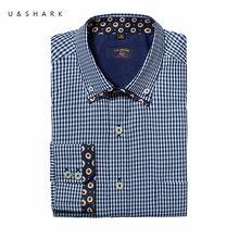 Fashion Dobby Muster Blau Kariertes Hemd Männer Bluse Slim Fit Camisa U & Shark Langarm Überprüfen Social Shirt Mann Chemise Homme