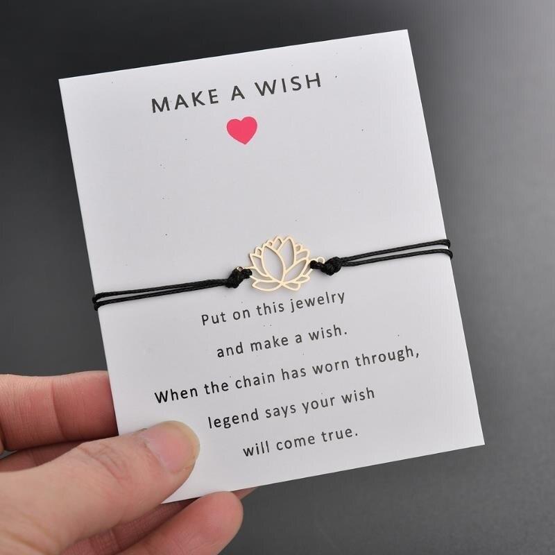 2019 NEW Make A Wish card adjustable bracelet gold color Lotus Flower pendant romantic 7 colors rope chain Bracelet women