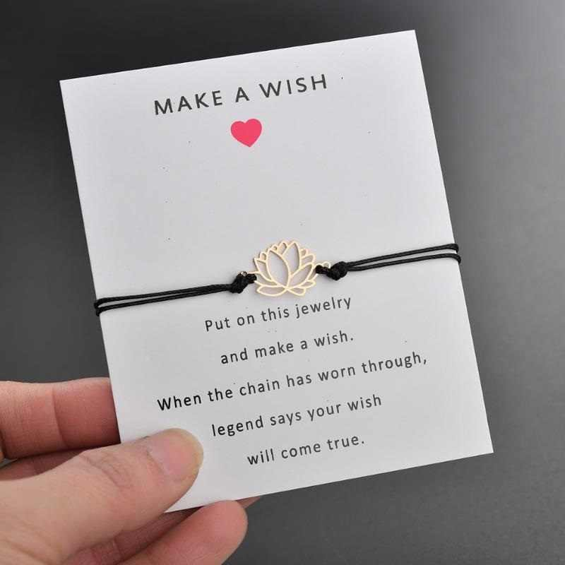 2019 nowy sprawiają, że karty życzeń regulowana bransoletka złoty kolor kwiat lotosu wisiorek romantyczny 7 kolory liny bransoletki i łańcuszki na rękę kobiet