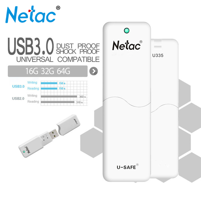 Original Netac U335 Flash Drive USB 3.0 64GB 32GB 16GB Pen Drive Hardware Write Protection Memory Stick U Disk Thumb Pendrive