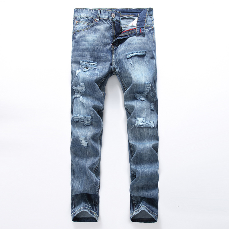 Men s High Quality Brand Jeans Blue Color Printed Jean Ripped Button Jean Casual Pants Quality