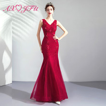 AXJFU red lace v neck flower mermaid evening dress beach princess vintage beading crystal trumpet 1196