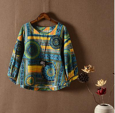 New Blouse Top 2018 Cotton And Linen Womens Clothes Floral Printed Pattern 4/5 Sleeve Oversize Short Short Shirt Woman Blusas