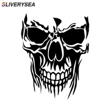 SLIVERYSEA Car Styling Skull Die Cut Vinyl JDM Decal Stickers Truck Windshield Bumper Sticker Accessories