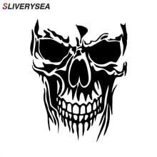 SLIVERYSEA, автомобильный Стайлинг, Череп, вырезанный виниловый JDM наклейки на автомобиль, грузовик, наклейка на лобовое стекло, бампер, автомобильные аксессуары