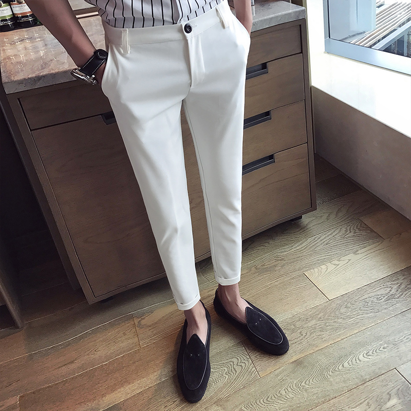 Pants Best 2018 Summer New Product Man Korean Nine Part cargo trousers men joggers pantalon homme masculina Free shipping white-in Skinny Pants from Men's Clothing
