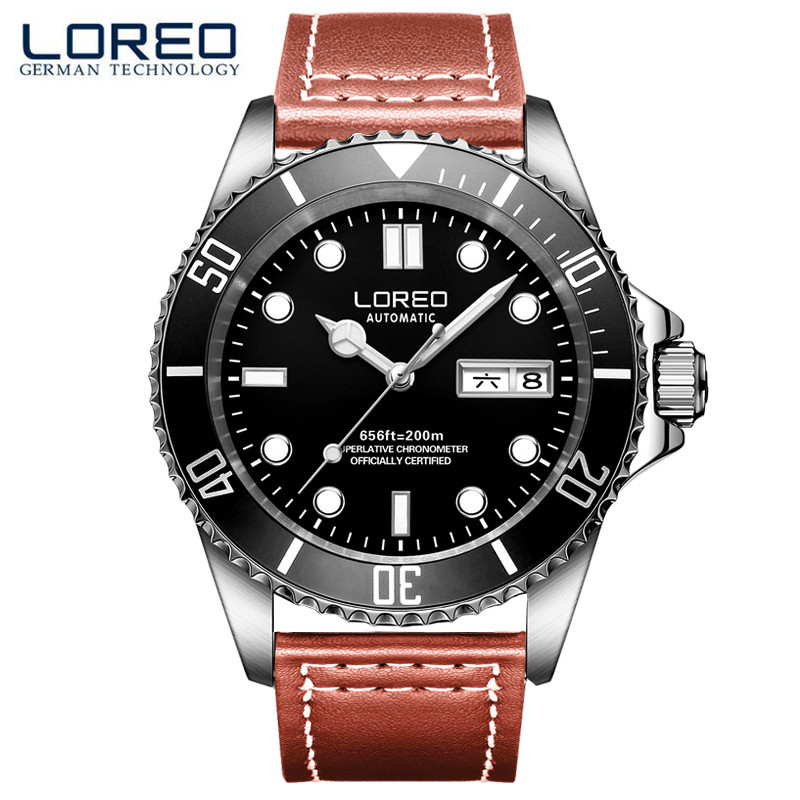 LOREO Luminous Multi Functional Stainless Steel Men'S Watch Sapphire Mechanical Hollow Luminous Waterproof Business Watch M09 цена и фото
