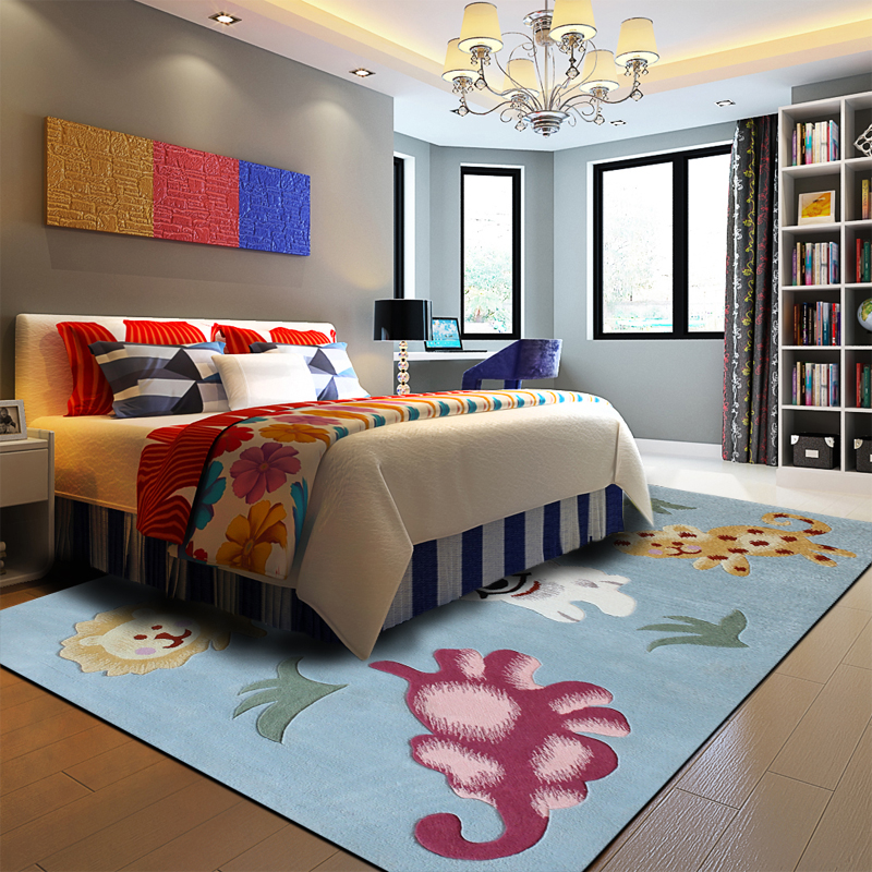 100% Pure Wool Carpets Bedroom Children's Rug Anime