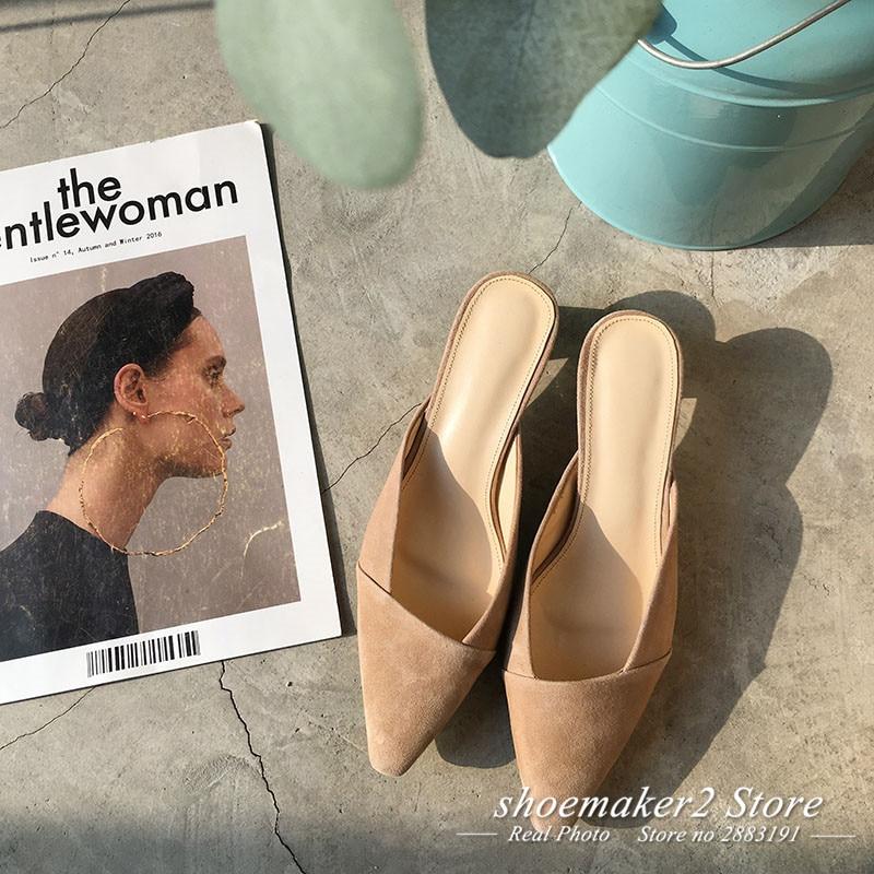 Bout Étrange 2018 Talon Pointu Femme Style Rétro Mode Chaussures En Muller Pantoufle Beige Noir Daim wIpqS4I