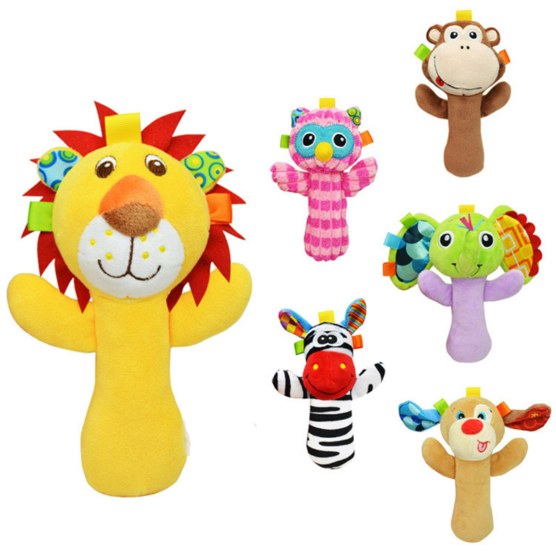 0-12 Months Newborn Animal Hanging Baby Toys Lion Monkey Elephant Owl Stuffed Rattle Toy Children Handbells BeBe Sound Hand Bell