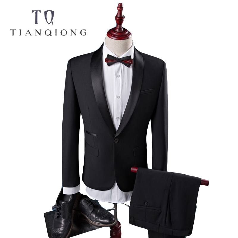 TIAN QIONG Cheap New Coat Pant Designs High Quality Cotton Black Casual Suits Men,wedding Adress Casual Suit Men,Plus-Size S-4XL