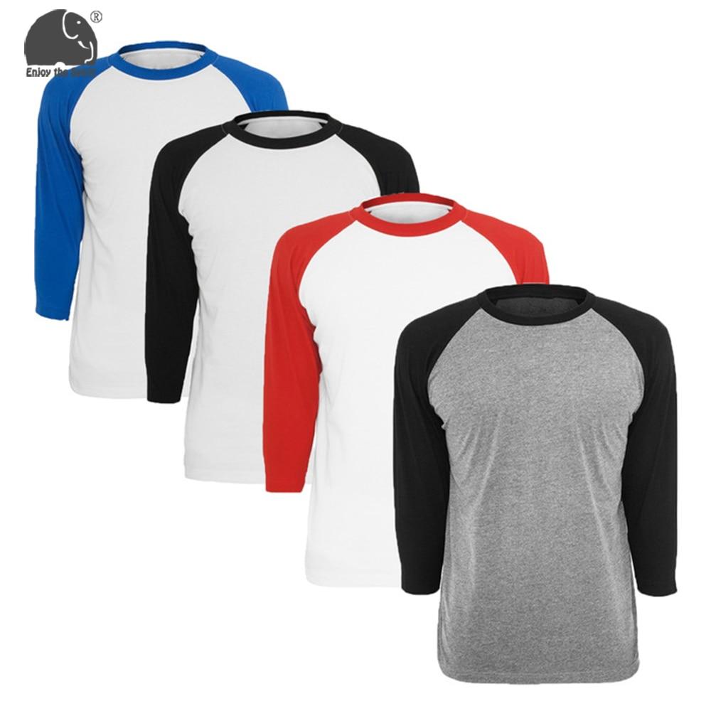 Summer Tops Fashion Mens O-Neck   T  -  shirt   Men's Casual 3/4 Sleeve Baseball Tshirt Raglan Jersey   Shirt   5 Colors Avaliable