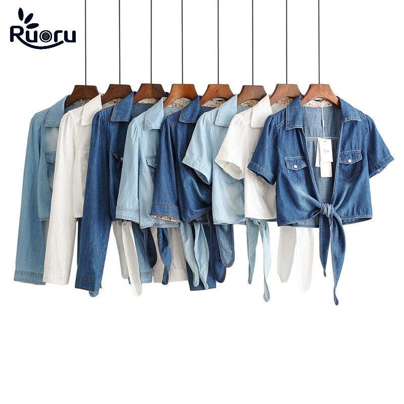 Ruoru Kimono Denim Shirt Short Sleeve Womens Tops Chemise Femme Crop Top Sexy Short Jeans Shirt Blouse Summer Feminine Shirts
