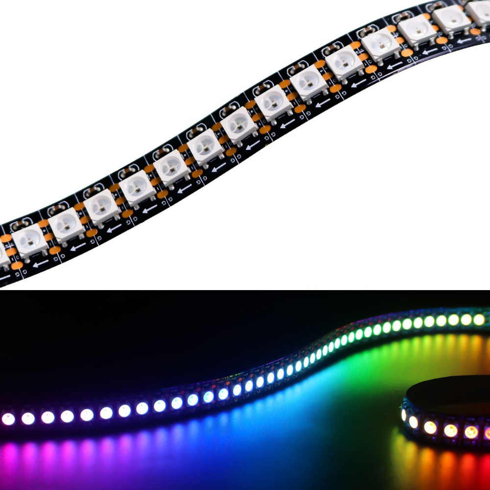 1M Matrix 5V SK6812 WS2812B Flexible LED Strip Pita Tape 5050 RGB SM 144 LED/M Addressable pixel Penuh Warna Lampu Strip