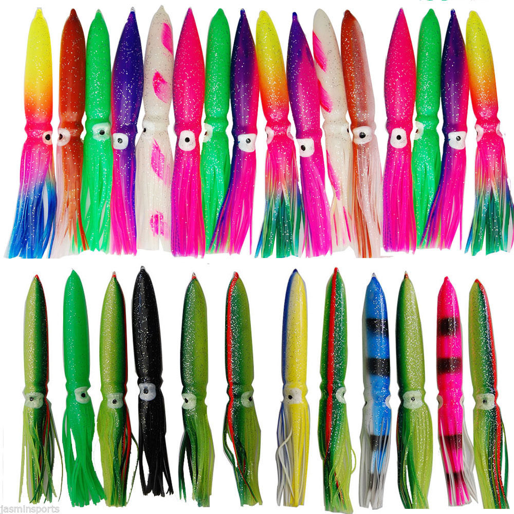 15pcs Squid Skirt Lure Saltwater Soft Bulb Octopus Bait Hoochies 14cm