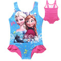 2 Styles Summer Children Cartoon Anna Elsa Swimwear Sets Print Swimsuit For Girls Blue Pink Strapped Bikini Bathing Suits