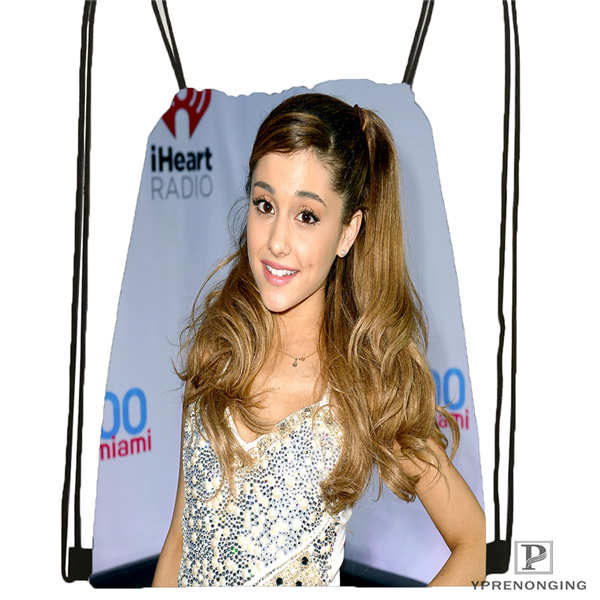 Custom Ariana-Grande Drawstring Backpack Bag Cute Daypack Kids Satchel (Black Back) 31x40cm#180611-03-114