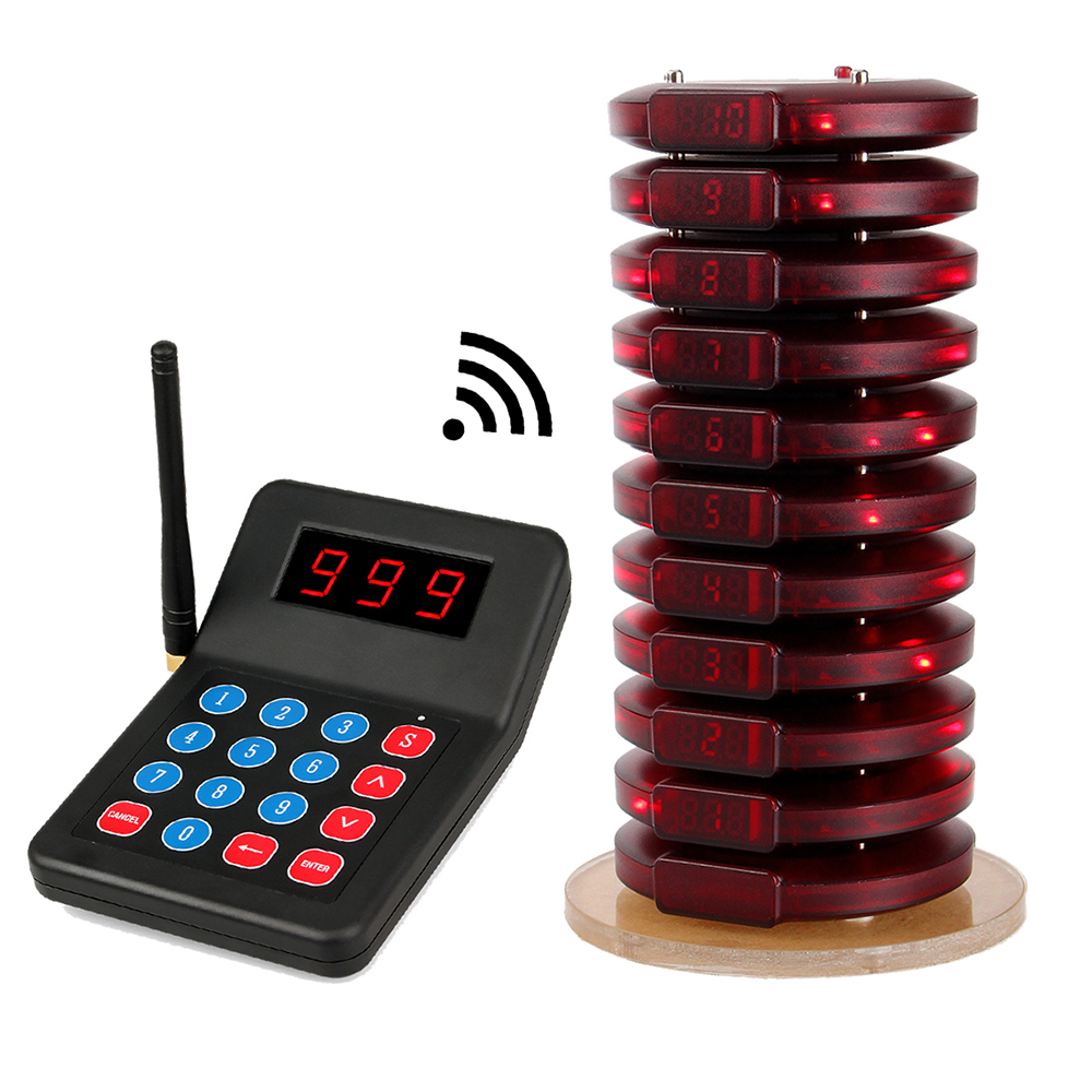 999 Channel Restaurant Pager Wireless Calling System 10 Coaster Pager+1 Transmitter Customer Service For Fast Food джемпер tom tailor denim 3055049 00 12 6740