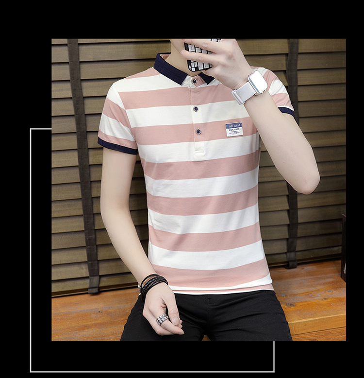 New summer high quality striped short sleeve polo shirt men brand clothing fashion Korean casual slim fit male camisa 9018Z 23