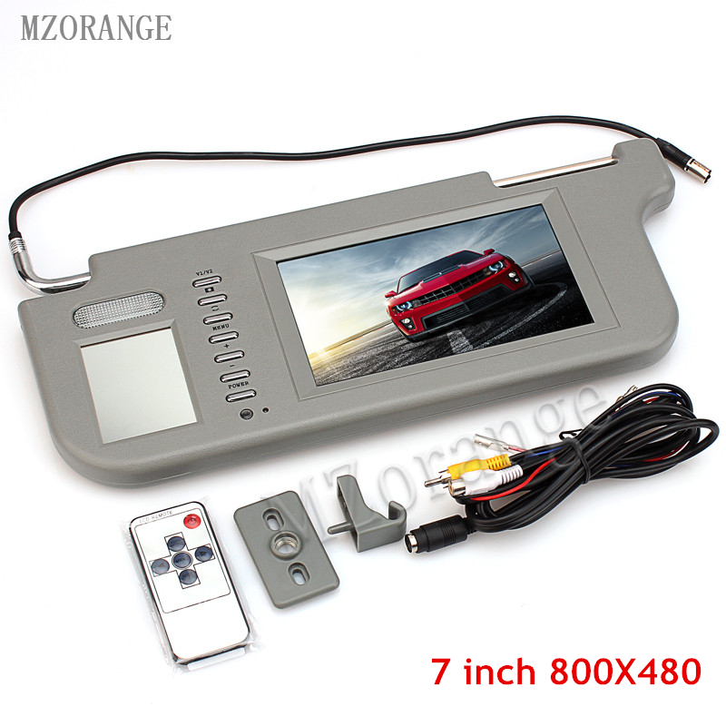 MZORANGE Gray 7 800 x 480 Resolution Car Sun Visor Monitor 2 Channel Video for DVD