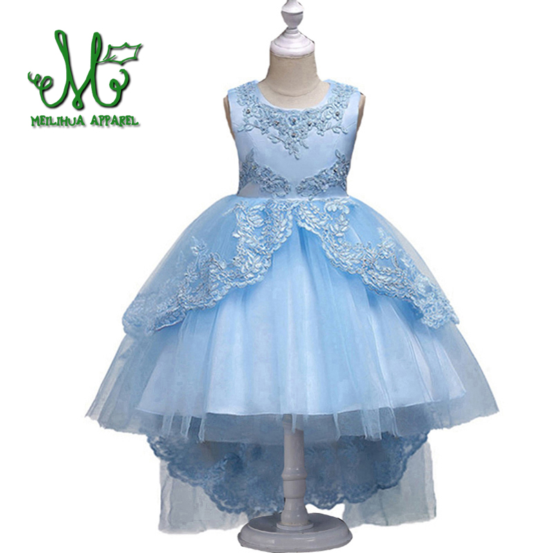 Girls Princess Clothes Pearl Embroidery high grade Wedding dress Children Christmas Clothing Kids Party Dress baby Girls dress