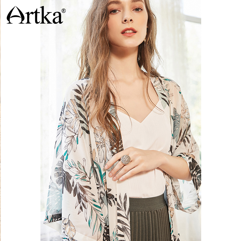 ef681c27c8 Detail Feedback Questions about ARTKA 2018 Summer New Women Fresh Printed  All match Three Quarter Sleeve Simple Chiffon Cardigan Sun Protection Shirt  ...