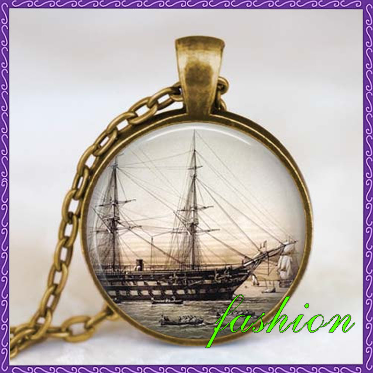 Vintage Ship necklace , Old Sailboat jewelry , ancient ship necklace pendant , Old sailing ship jewelry best friends pendant
