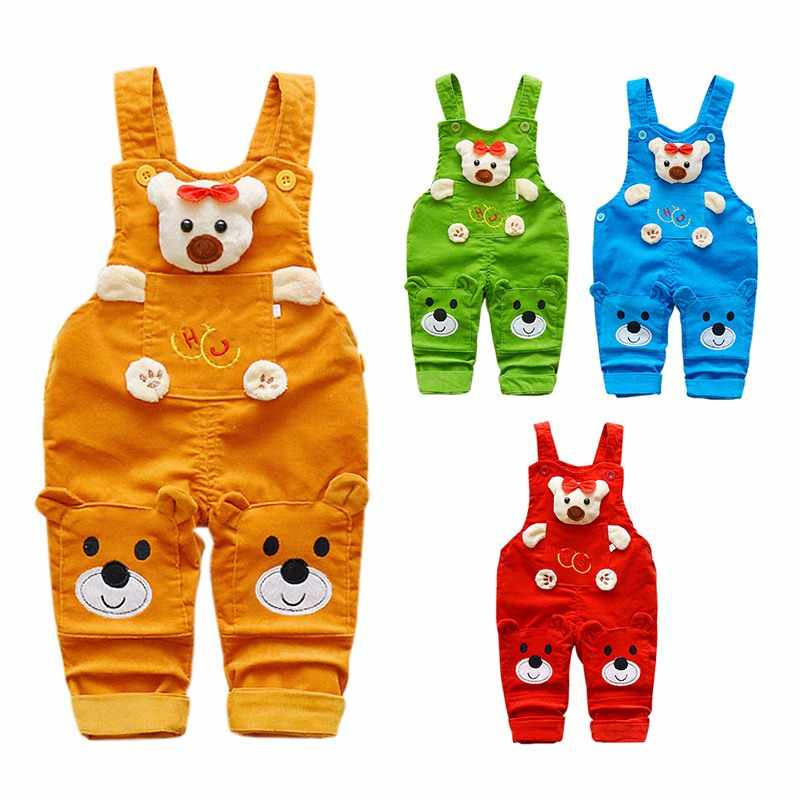 Hot Baby Kids Overalls Clothing Cartoon Cotton Soft Cute Bear Bib Straps Pants Toddler Jumpsuit Pants Clothes Summer Spring Pant