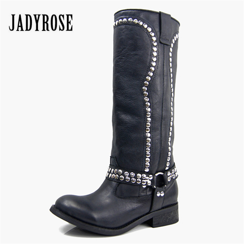 Jady Rose Black Women Knee High Boots Genuine Leather High Boots Rubber Sole Thick Heel Female Rivets Studded Long Martin Boot jady rose vintage black women knee high boots lace up side zip platform high boots thick heel flat martin boot for autumn winter