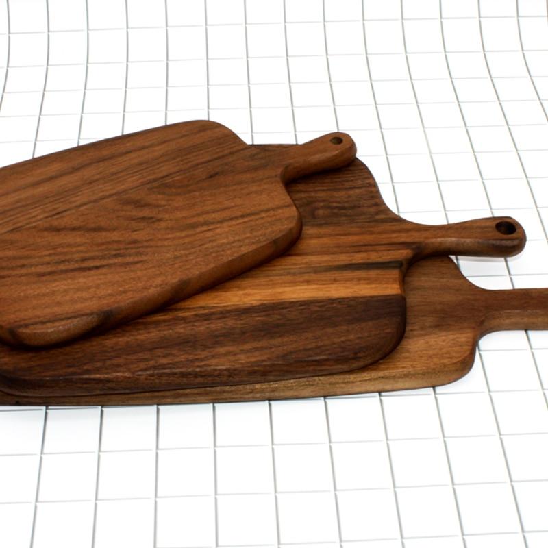 NHM 1 pcs Black Walnut Chopping Blocks Kitchen Food Plate Wooden Pizza Bread Whole Wood Tray Cutting Board