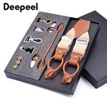 Deepeel/1 комплект, 3,5X125 см, деловые мужские подтяжки, роскошный мульти-комплект, костюм, 3/6 клипсы, подтяжки, сделай сам, ремень из натуральной кожи для подарка