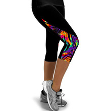 Running Tights Female Printed Leggings for Women Sportswear Velvet Leggins 3/4 Sport Fitness Pants Walking Trousers
