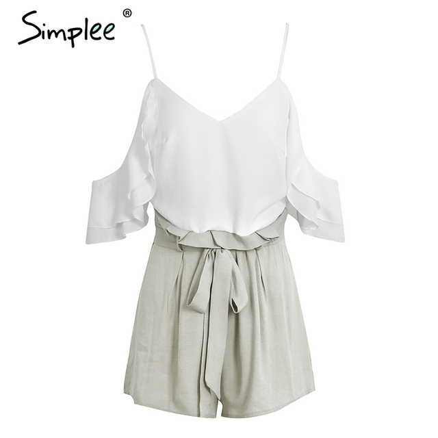 Simplee cold shoulder ruffles bow chiffon women jumpsuit romper V neck backless packets playsuit Sexy straps zipper overalls