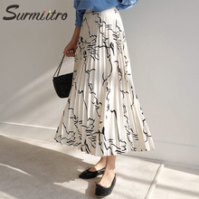 Surmiitro Graffiti Print Long Pleated Skirt Women 2019 Spring Summer Fashion White Black Ladies High Waist A-line Skirt Female