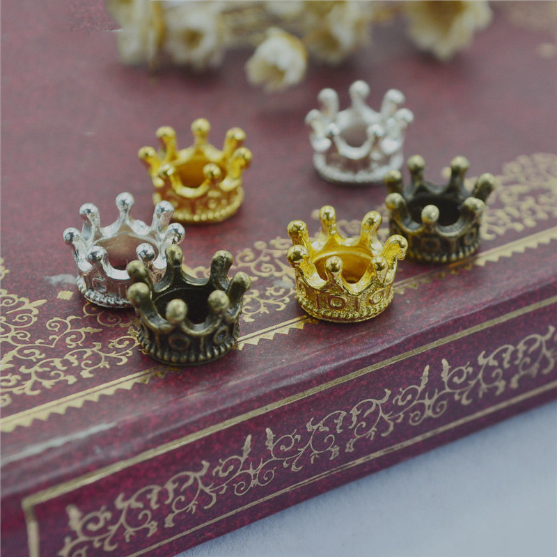 50pcs/lot 10x7mm Gold Silver Antique Bronze Crown Charm Beads Connectors Charms End Beads Cap For DIY Jewelry Making Findings