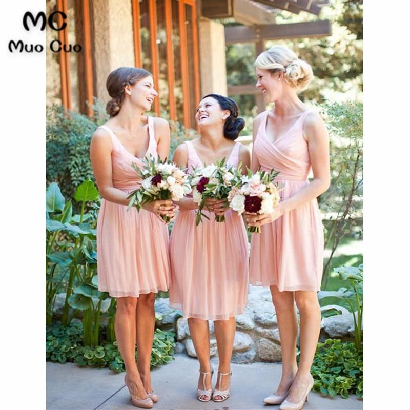2018 New Pink   Bridesmaid     Dress   Short V-Neck Wedding Party   Dresses   Pleat Chiffon   Bridesmaids     Dresses   Short Custom Made