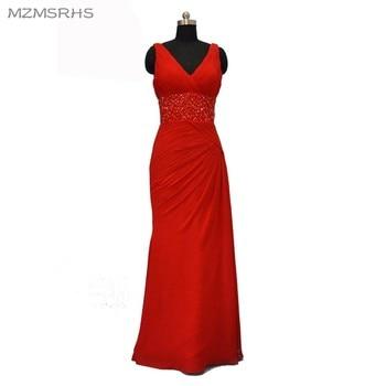 Vestido de Festa Longo Red Crystal beaded Mermaid Prom Dresses Long 2017 Real Image Chiffon Pleat Evening Party Dress
