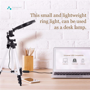 Image 3 - 9 אינץ טבעת אור חצובה Stand עבור Selfie תמונות YouTube קטעי וידאו איפור LED טבעת אור 10 בהירות רמות 3 תאורה מצבים