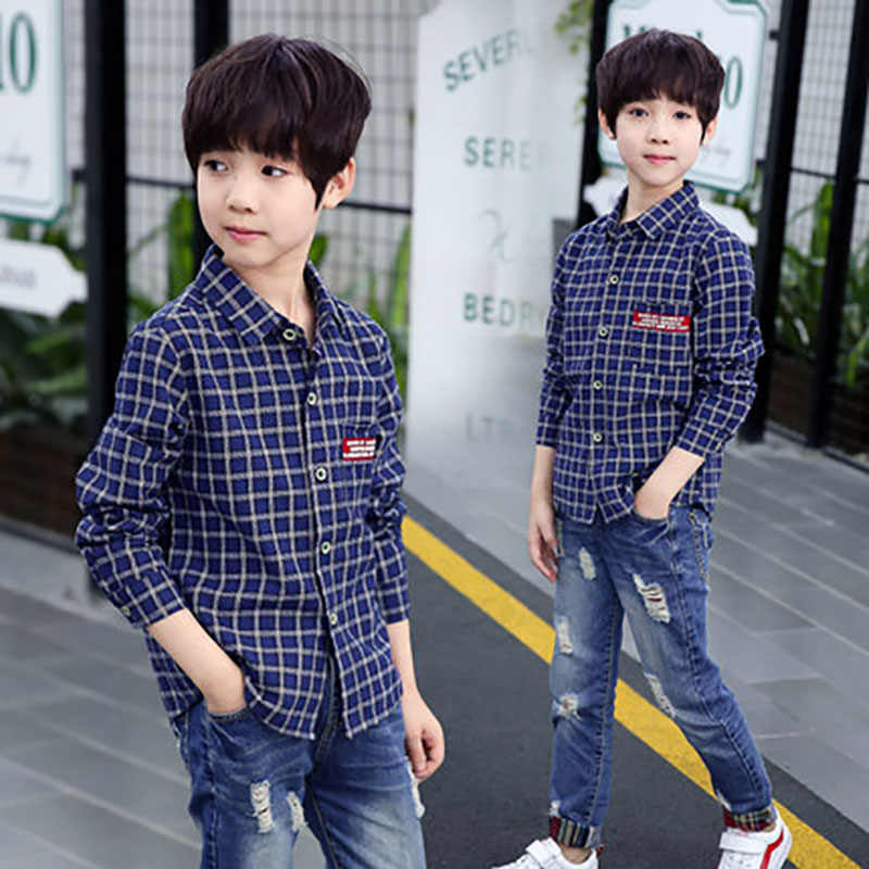 f2ad217a8813 ... Boys clothes 4-15 Y children cotton plaid shirt kids spring autumn  style long sleeve ...