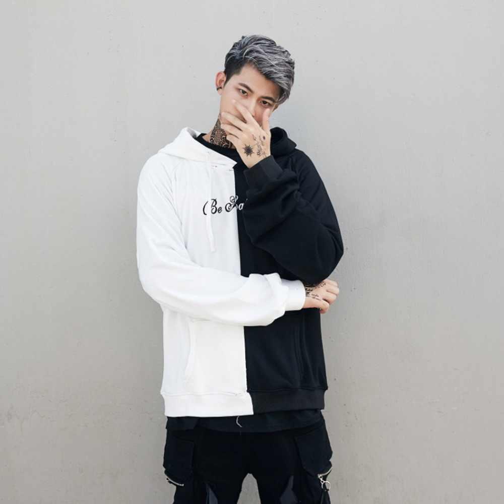 Casual Patchwork Hoodies hombres 2018 moda Hip Hop sudaderas con capucha hombre sonrisa letra impresa Streetwear ropa chándal hombre
