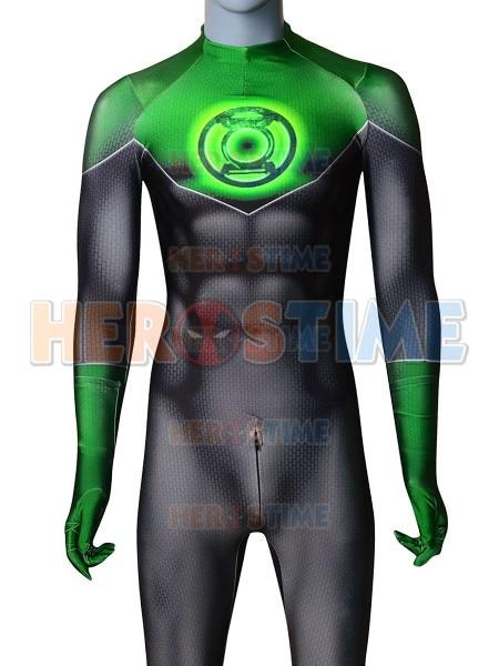 Green Lantern Costume John Stewart Green Lantern 3D Print Zentai Suit Halloween Party Superhero Cosplay Custom