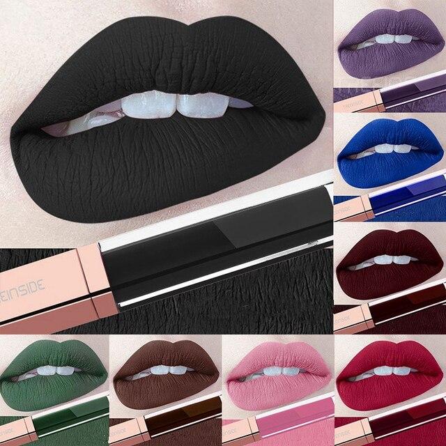 24 colores maquillaje líquido pintalabios Mate impermeable labios rojos de larga duración Ultra Mate brillo labial Negro Azul desnudo